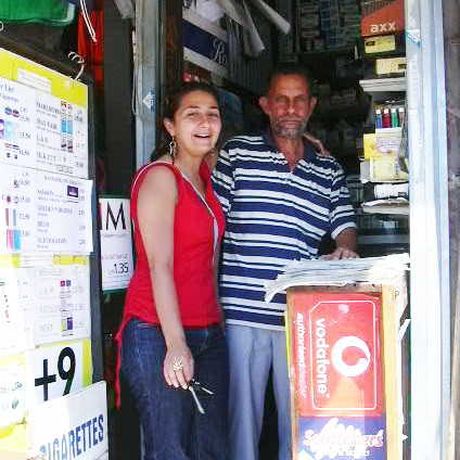 With dad in his shop in Sliema