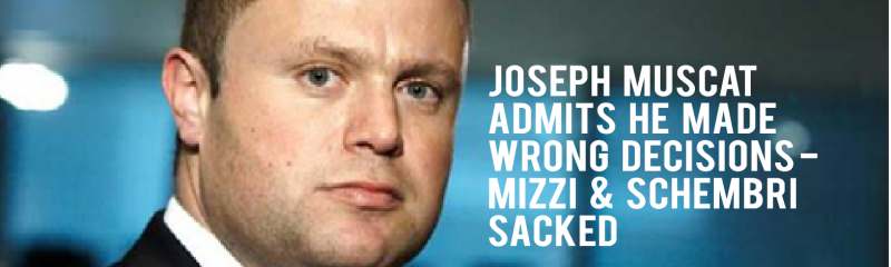 Joseph Muscat admits he made wrong decisions – Mizzi & Schembri sacked